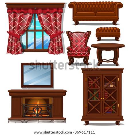 Living room interior in retro style. Vector. - stock vector