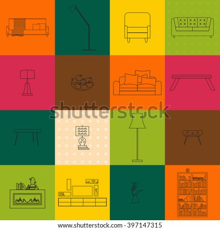 living room interior line furniture isolated icons for home design vector, sketch illustration of table chair sofa lamp office concept