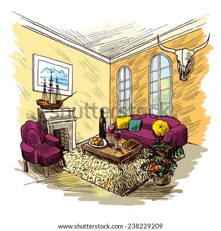 Living room interior sketch colored background with fireplace couch table picture vector illustration - stock vector