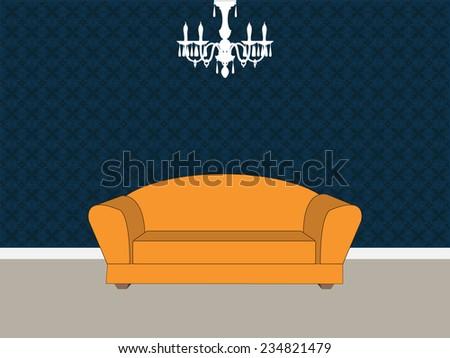 Living room interior - Vector format - stock vector