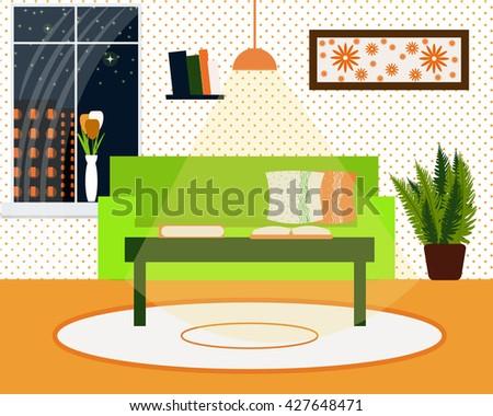 Living room interior vector illustration. Cozy home environment. Evening. Interior stock vector. Sofa , coffee table, bookshelf, window, flowers in a vase flat design - stock vector
