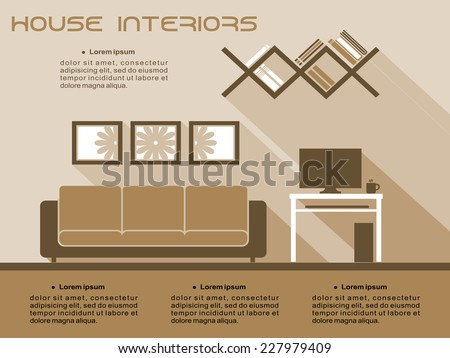 Living room interior vector infographic template in shades of brown and beige with a sofa, television and bookcase with space for text - stock vector