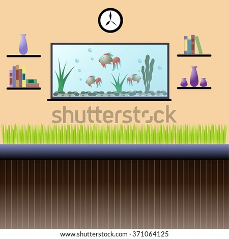 Living Room Interior With Aquarium Bookshelves Clock And Indoor PlantsVector Illustration