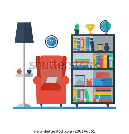 Living room interior with bookcase and armchair.  I love reading concept. Vector illustration. - stock vector