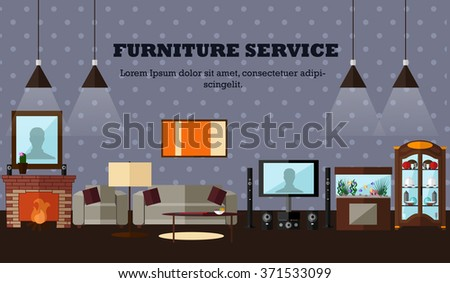 Living room interior with furniture. Concept vector illustration in flat style. Home design banner. - stock vector