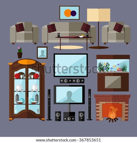 Living room interior with furniture. Concept vector illustration in flat style. Home related isolated design elements and icons. - stock vector