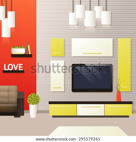Living room interior with indoors flat furniture objects vector illustration