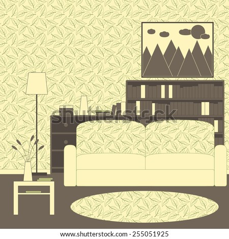 Living room interior with patterned wallpaper and carpet, sofa, coffee table with shelf, floor lamp, chest of drawers, shelving with books, framed painting with mountains, sun and clouds on the wall - stock vector