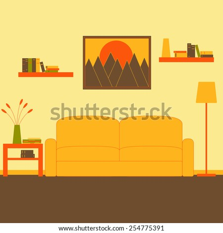 Living room interior with sofa, floor lamp, coffee table with magazines, newspaper, books, vase and flowers on it, two bookshelves with books and framed painting with mountains at sunset on the wall - stock vector