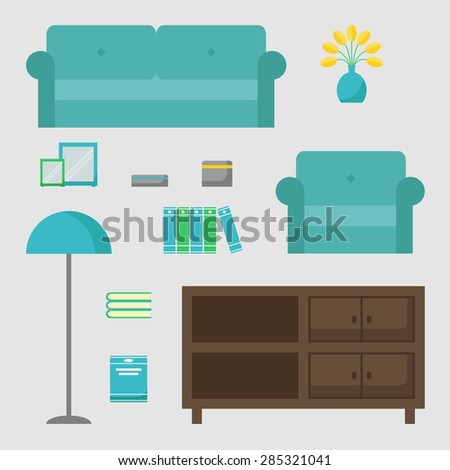 Living room isolated icons set. Living room elements on background. Modern furniture with couch, armchair, bookcase, lamp and decoration. Flat style vector illustration. - stock vector