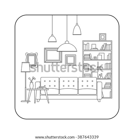 Living Room Line Interior With Furniture Vector Thin Illustration Of