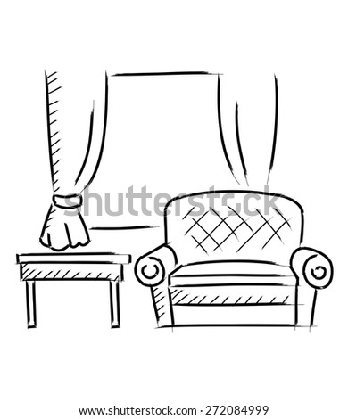 Living room sketch isolated on white background - stock vector