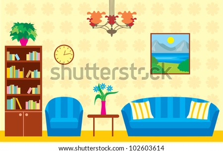 cartoon living rooms living room vector stock vector royalty free 102603614 11529