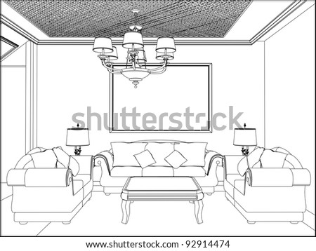Living Room Vector 09 - stock vector