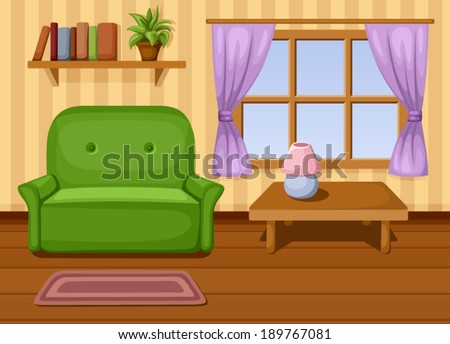 Living room. Vector illustration. - stock vector