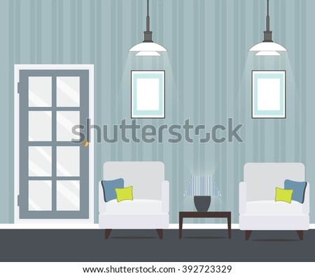 living room with doors and armchairs - stock vector