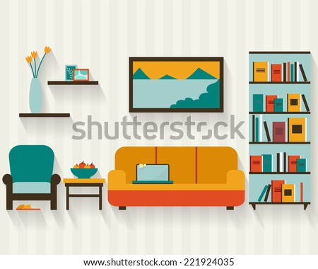Living room with furniture and long shadows. Flat style vector illustration. - stock vector