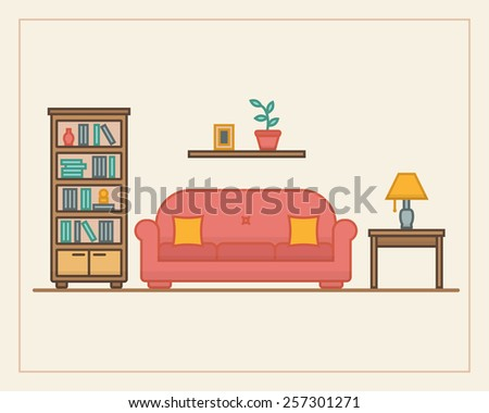 Living room with furniture in linear style. Flat line style vector illustration. - stock vector
