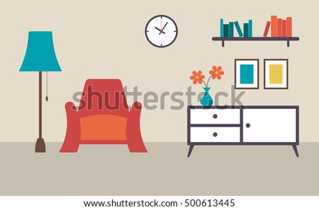 Living Room With Furniture Interior Design Flat Vector Illustration