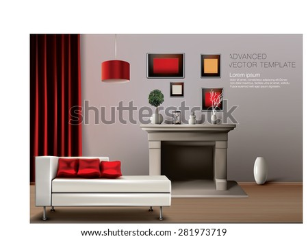 Living room with modern white  couch and classic  fire place. Easy to rearrange composition that fit your needs. Rich vector graphic