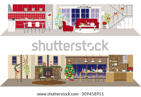 Living space / Christmas - stock vector
