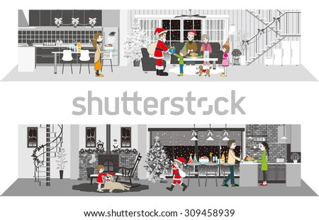 Living space / Christmas party - stock vector
