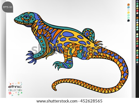 Lizard. Animal patterns with hand-drawn doodle waves and lines. Vector illustration in bright colors.