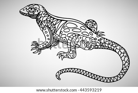 Lizard. Hand-drawn with ethnic pattern. Coloring page - isolated on a white background. Zendoodle patterns. Vector illustration.