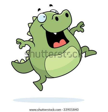 Lizard Jumping - stock vector