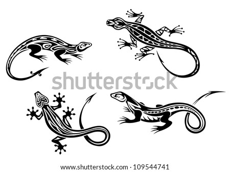 Lizard reptiles set in tribal style for tattoo or mascot design, such a logo. Jpeg version also available in gallery - stock vector