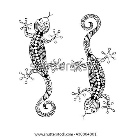 Lizard zenart for your design - stock vector