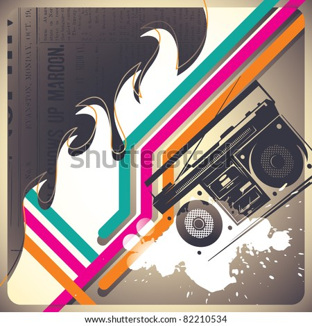lliustrated artistic background with retro objects. Vector illustration. - stock vector