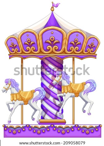 lllustration of a purple merry-go-round ride on a white background - stock vector