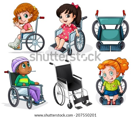 lllustration of the disabled patients with wheelchairs on a white background - stock vector