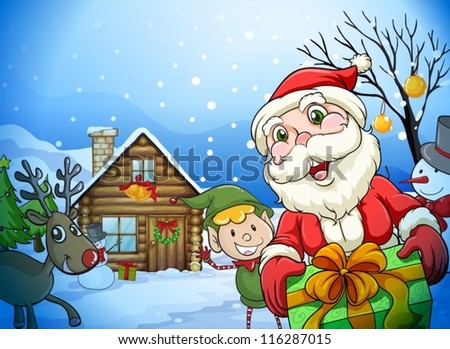 llustration of a house, a santa claus and a reindeer in a beautiful nature - stock vector
