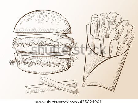 llustration of hand drawn burger. Hamburger Cheeseburger . Vector isolated on white background. Tasty Vector illustrations. Tomato cheese salad. - stock vector