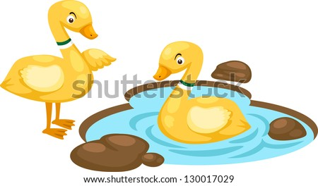 llustration of isolated duck family on white background vector - stock vector