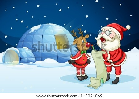 llustration of santa claus and reindeer in night - stock vector
