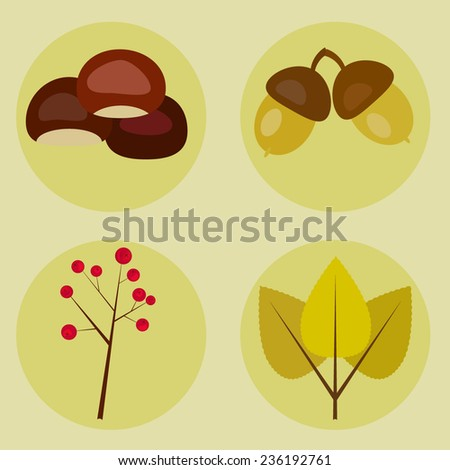 llustration set of fall products on a neutral background with beech tree leaves, acorn, berries and chestnuts  - stock vector