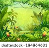 llustration with flowers and jungle toucan - stock
