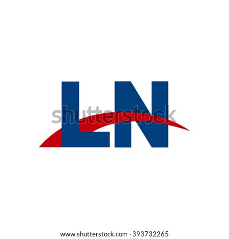 LN initial overlapping swoosh letter logo blue red
