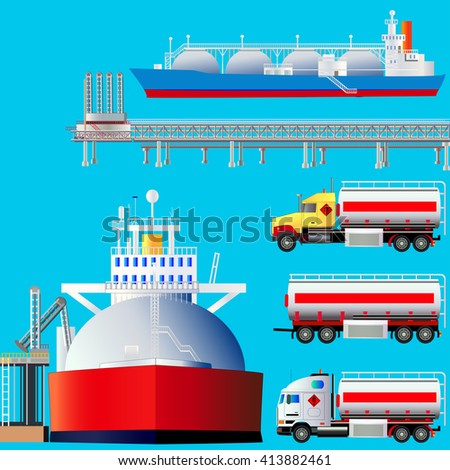 LNG terminal, tankers and trucks. Vector illustration. Flat style. side-view icons. Isolated on blue. All objects are located on isolated layers