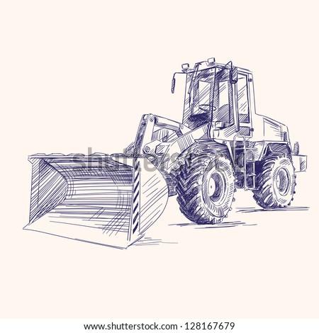 loader bulldozer excavator machine hand drawn vector illustratioloader bulldozer excavator machine - stock vector