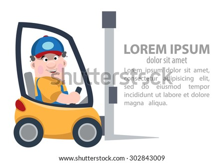 loader on forklift - stock vector