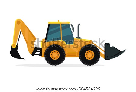 Loader vector illustration. Flat design. Heavy construction machine for earthworks. Illustration for building concepts, city works infographics, icons or web design. Isolated on white background