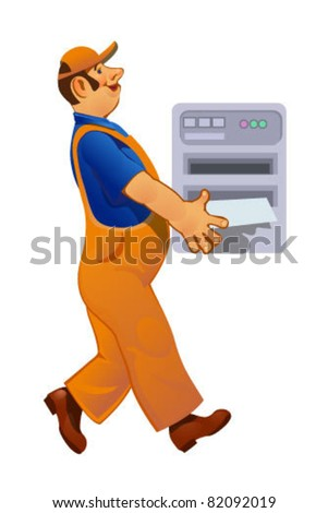loader with a printer - stock vector