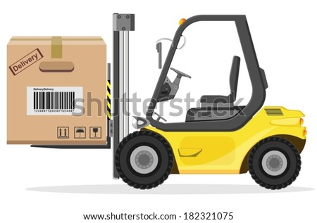 Loader with box  - stock vector