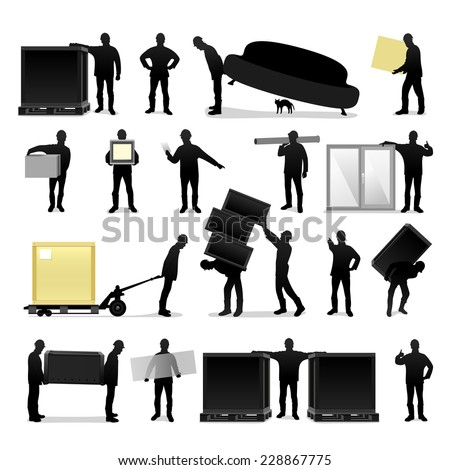 loaders silhouettes - stock vector