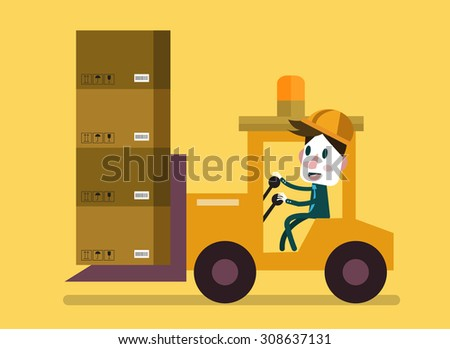 Loading and unloading machine. Industry cargo equipment, forklift and delivery, shipping and loader, operator working. Flat vector illustration - stock vector