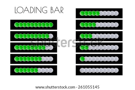 loading bars with green circles on the black background - stock vector